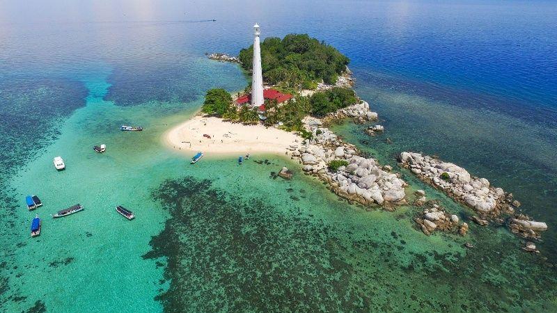 Pulau Belitung Tampak Atas